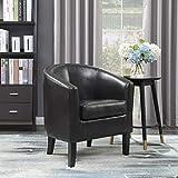 Belleze Modern Arm Club Chair Faux Leather Tub Barrel Style, Brown