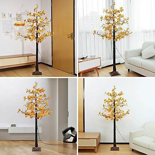 Artificial LED Maple Tree Light, LightMe 6FT 120 Warm White LED Lighted Maple Tree Lamp for Office, Home Patio, Garden, Festival, Party, Wedding, Christmas, Halloween Decor Indoor Outdoor (Bee Yellow) by LightMe (Image #2)