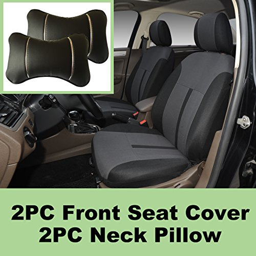 5N16101 Black-Fabric 2 Front Car Seat Covers + 2 PU Leather Headrest Pillow Compatible To Toyota Camry Corolla Echo Yaris Tacoma 4 Runner FJ Land Cruiser Avalon Prius Sequoia Rav 4 2018 2017 2016-2007 Corolla Pillow