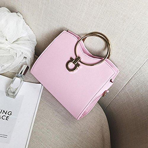 Cartable simple pink Messenger de rétro sac épaule bandoulière à anneau bandoulière Mode femmes ESAILQ 7HxwFqpR6