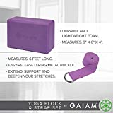 Gaiam Yoga Block + Yoga Strap Set, Purple