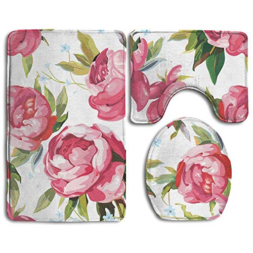 Non Slip Bathroom Rug Toilet Sets, Lovely Peony Flowers Prints Non-Slip Bathroom Rugs 3 Piece Set Anti-Skid Pads Bath Mat + Toilet Lid Cover + Contour