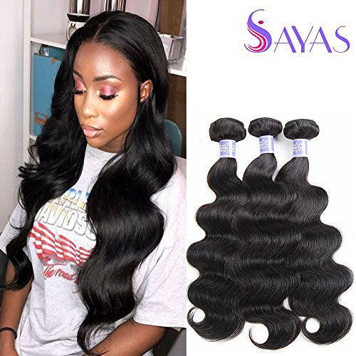 Remy Human Hair (Sayas Hair (12 14 16 inch) Brazilian Virgin Hair Body Wave Remy Human Hair Bundles 100% Unprocessed Human Virgin Hair 3 Bundles 100g/Bundle Natural Color)