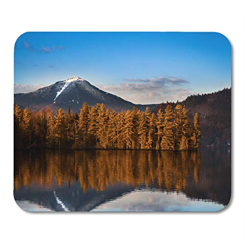 Emvency Mouse Pads Blue Adirondack Snowy Whiteface Mountain Reflections in Paradox Bay Lake Placid Upstate New York Mousepad 9.5