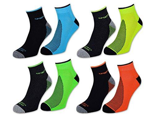 4 bis 12 Paar NEON Sport Sneaker Socken Herren mit Frotteesohle verstärkt - 16208 (43-46, 6 Paar - Farbmix)