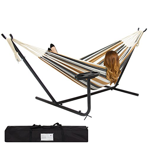 (Best Choice Products Outdoor Double Hammock Set w/ Steel Stand, Cup Holder, Tray, and Carrying Bag - Desert Stripe)