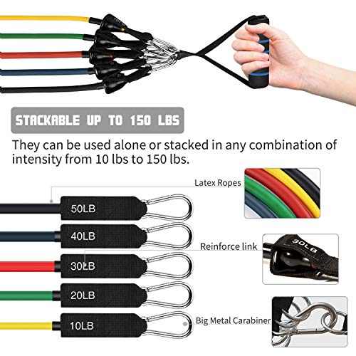 23Pcs Resistance Bands Set Workout Bands, 5 Stackable Exercise Bands with Handles, 5 Resistance Loop Bands, Jump Rope, Figure 8 Resistance Band, Headband, Cooling Towel