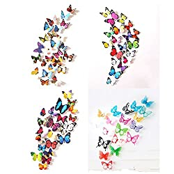 Prefer Green 80 Pcs 3D Colorful Butterfly Wall Stickers DIY Art Decor Crafts (Pack of 4 Items ABCD)