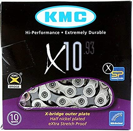KMC X10.93 10-Speed 116L Stretch-Proof Bike Chain fits SRAM Campagnolo /& Shimano