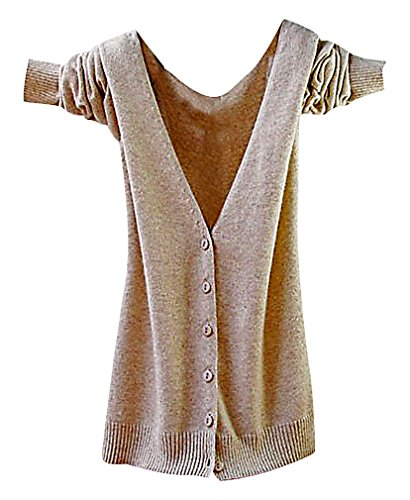 Maze, Women's Long Sleeve Buttoned Ribbed Cuff V Neckine Short Sweater Cardigan, CamelV M ,Manufacturer(L)