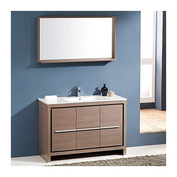 "Fresca Bath FVN8148GO Allier 48"" Vanity with Mirror, Gray Oak - Dimensions of Vanity: 47.25""W x 18""D x 33.5""H Dimensions of Mirror: 47.25""W x 25.5""H x 6""D Materials: Plywood with Veneer, Ceramic Countertop/Sink with Overflow - bathroom-vanities, bathroom-fixtures-hardware, bathroom - 519Dp8ad6cL. SS570  -"
