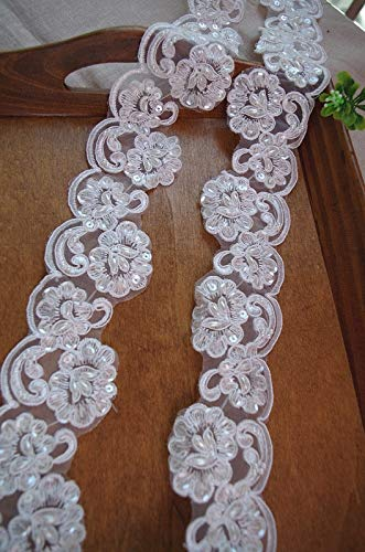 Lace Crafts Beaded Cord lace for Bridal Veil Sequined Bridal Bridal Dress 1yard