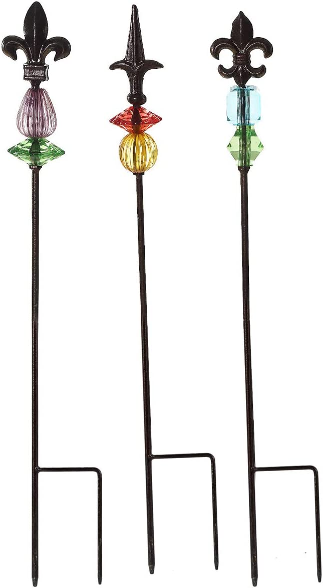 "Topadorn Garden Stake Outdoor Plant Pick Cute Metal Stick Fleur de Lis Art Ornament Decor for Lawn Yard Patio, 3 Set, 2.25"" W x 2.25"" D x 25"" H"