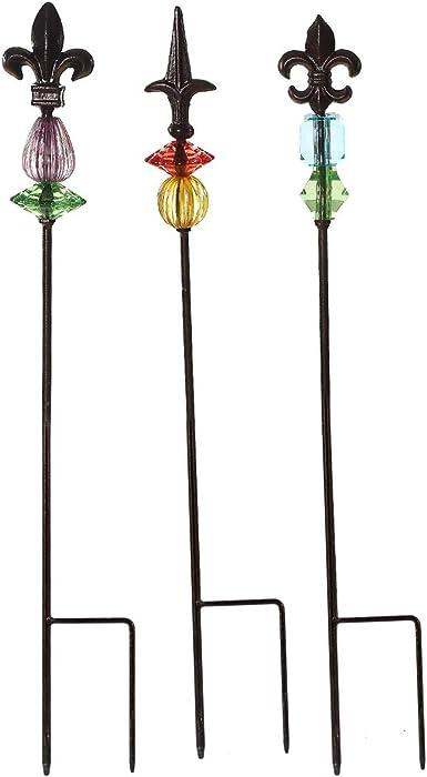 "Topadorn Garden Stake Outdoor Plant Pick Cute Metal Stick Fleur de Lis Art Ornament Decor for Lawn Yard Patio, 3 Set, 2.25"" W x 2.25"" D x 25"" H"