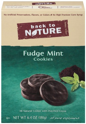 Chocolate Fudge Mint Cookies - Back To Nature Fudge Mint Cookies, 6.4-Ounce Boxes (Pack of 6)