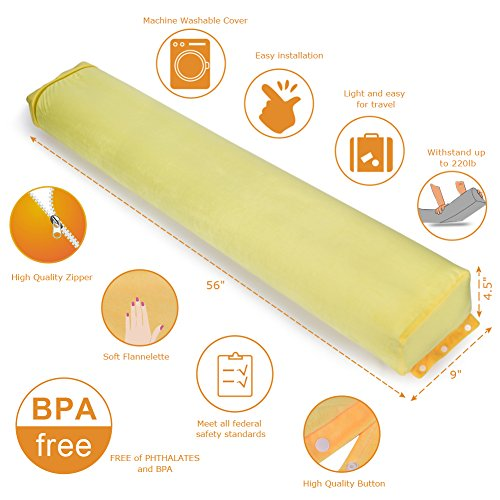 Bed Rails for Toddlers, VESTLIFE Safety Kids Inflatable Safety Guard with Easy Carry Travel Bag, Certified Portable Bed Rail Bumper for Toddlers, Kids (Yellow) by VBESTLIFE (Image #2)