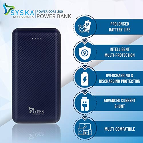 Syska Power Core200 P2006J 20000 mAh Lithium Polymer Power Bank (10W, Dual USB Output, Micro & Type-C Input) (Blue)