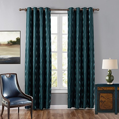 Leyden (1 Panel) Grommet Top Insulated Leaf Patterns Jacquard Window Curtains for Living Room( 52 wide x 84-inch length, Green)