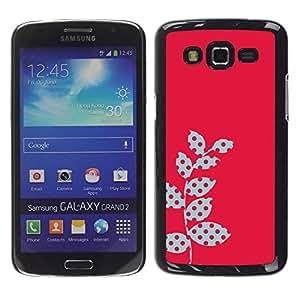 "Pulsar Snap-on Series Teléfono Carcasa Funda Case Caso para Samsung Galaxy Grand 2 II , Polka Dot Raster rosadas Hojas rojas"""