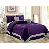 "7 Piece Oversize Purple Grey Embroidered Luxury Comforter Set Queen Size Bedding 94""X92"""