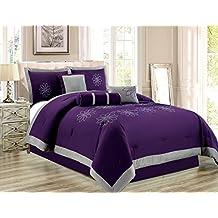 "7 Piece Oversize Purple Grey Embroidered Luxury Comforter Set Queen Size Bedding 94""X92"""