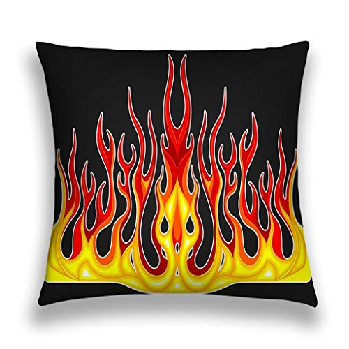 grr4ssd456 Throw Pillow Cover Pillowcase Blazing fire Decals Hood car hot Rod Racing Flames Vinyl Ready Tribal Flames Vehicle Motorbike Stickers Sofa Home Decorative Cushion Case 18