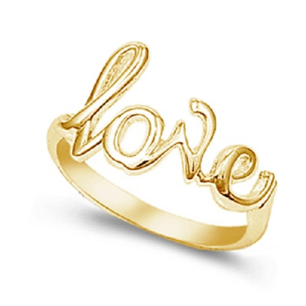 CloseoutWarehouse Sterling Silver Yellow Gold-Tone Plated Love in Script Ring Size 8