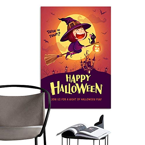 UHOO Canvas Wall Art Painting Happy Halloween Halloween Flying Little Witch Girl Kid in Halloween Costume Flying Over The Moon Retro Vintage 1.jpg Nature Canvas Artwork Home Office Wall 24