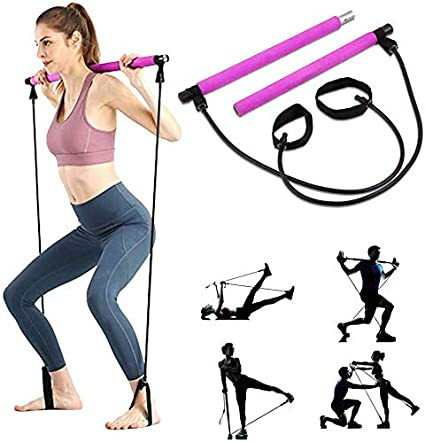 Amazon.com: Portable Pilates Bar Kit with Resistance Band Yoga Exercise  Pilates Bar with Foot Loop Toning Bar Yoga Pilates for Yoga,Stretch,Twisting,Sit-Up  Bar Resistance Band (Purple) (Pink): Sports & Outdoors
