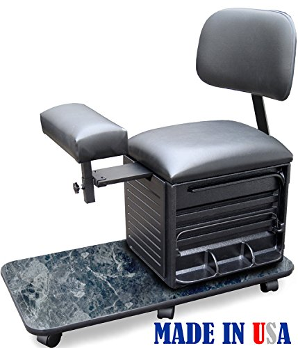 2318-BM Salon Spa Pedicure Station Stool with Footrest & Back Support by Dina Meri by Dina Meri