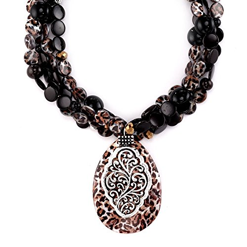 """LookLove Statement Necklace Womens Jewelry Genuine Shell Pendant and Beaded Necklace 18"""" Torsade Style Necklace with a 3"""" Extender"""