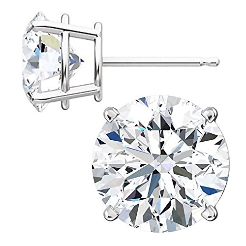 1000 Jewels Sterling Silver 8mm Brilliant Cut Ice on Fire CZ Stud Earrings