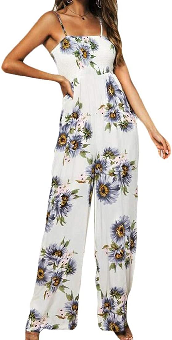 Fubotevic Womens Spaghetti Strap Print High Waisted Wide Leg Rompers Jumpsuit