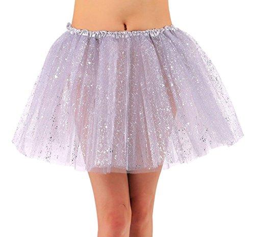 (Jasmine Womens Tutu Sparkly Glitter Tulle Tutu Skirt Halloween Costume,Silver)