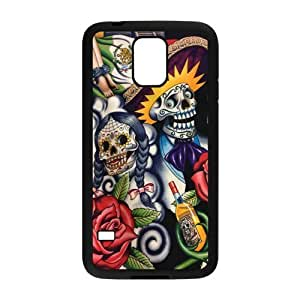 Sugar Skull Day of the Dead Protective Rubber Phone Cover Case for Samsung Galaxy S5,SV Cell Cases