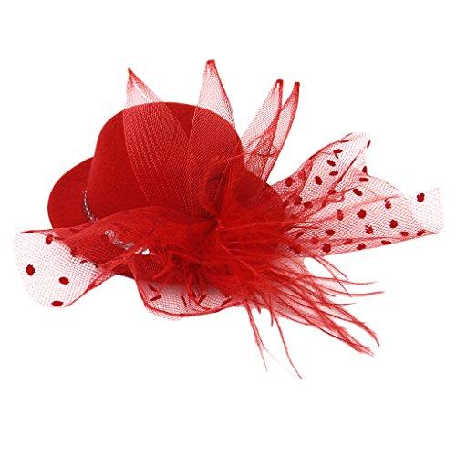 MagiDeal Borsa Pochette da Giorno Delle Labbra Rosse Catena Del Partito Di Sera Cocktail+ Cappello Della Piuma per Donna