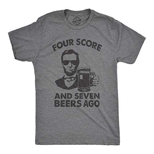 Crazy Dog T-Shirts Mens Four Score and Seven Beers Ago Tshirt Funny 4th of July Drinking Tee (Dark Heather Grey) - XXL