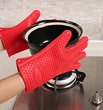 Techsun Mart Heat Resistant Silicone Gloves Cooking, Baking, Bbq