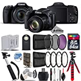 Canon PowerShot SX530 HS Digital Camera 9779B001 + 64GB Class 10 Memory Card + Macro Filter Kit + UV-CPL-FLD Filters + Backup Battery + 43'' Monopod Selfie Stick - International Version