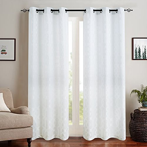 Opaque Panels - Jacquard Curtains for Living Room 63 inch Length Trellis Geometric Pattern White Semi Sheer Window Curtains for Bedroom Privacy Opaque Window Treatment Set, Grommet Top, 2 Panels
