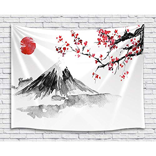 Japan Mount Fuji Decor Tapestry, Cherry Blossoms Sakura Sunset Ink Painting Art Wall Hanging for Bedroom Living Room College Dorm TV Backdrop Wall Blankets 60X40 ()