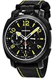 Anonimo Mens Military 43 MM Black Face Black Canvas/Leather Strap Chronograph Swiss Mechanical Watch AM110002004A01