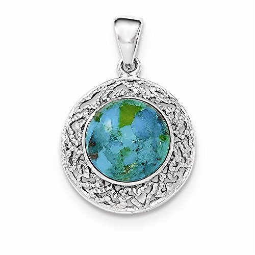 (Sterling Silver Rhodium w/Reconstituted Turquoise Pendant)