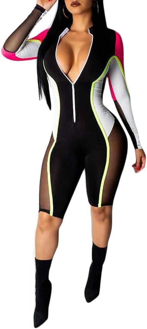 FSSE Womens Zipper Mesh Bodycon Biker Shorts Color Blocked Long Sleeve Jumpsuit Romper Rose Red M