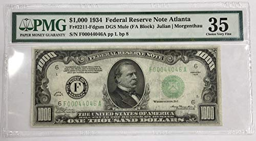 1934 Federal Reserve Note - 1934 $1000 Dollar Bill Federal Reserve Note Atlanta $1000 PMG Choice Very Fine