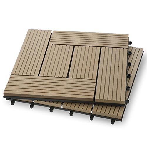 Garden Winds DT03-02LT Six Slat Composite Deck Tiles, Drift, 10 Count 10 Deck Tiles
