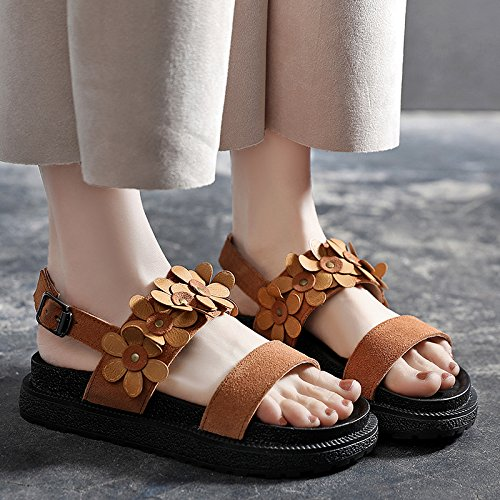 Fashion piatti Retro YMFIE Open Simple toe da Lady sandali Summer A spiaggia scarpe tfxwqUgH