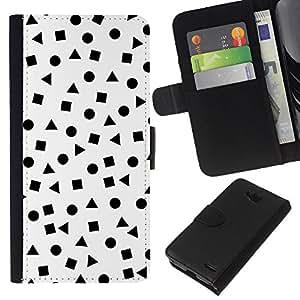 All Phone Most Case / Oferta Especial Cáscara Funda de cuero Monedero Cubierta de proteccion Caso / Wallet Case for LG OPTIMUS L90 // White Shapes Pattern Math