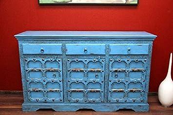Schrank Kolonialstil Sideboard Kommode Antik Holz Indien Blau