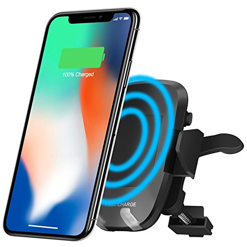 Wireless Car Charger Mount, Gixvdcu Qi Charger Car Mount with Air Vent Phone Holder, Fast Charge for Samsung Galaxy S8, S7/S7 Edge, Note 8 5, Standard Charging for iPhone X, 8/8 Plus by Gixvdcu